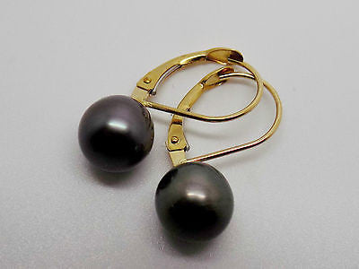 9mm Tahitian Pearl Earrings w/ Leverback wires 14k solid gold NWOT 029