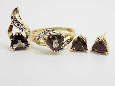 Natural Smokey Quartz & Diamond Accent Jewelry Set Ring Pendant Earrings NEW 10k