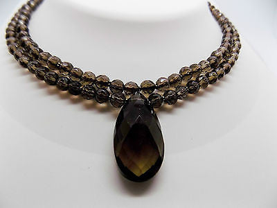 Double Strand Faceted Smokey Quartz Necklace w/ 52 Carat Drop Pendant in 14k