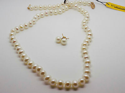 7mm White Pearl Knotted Strand Necklace Earrings 2 piece jewelry Set 10k NEW 616