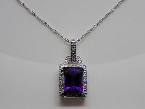 2.25 Ct. African Amethyst & Diamond Pendant Necklace 14k Solid Gold