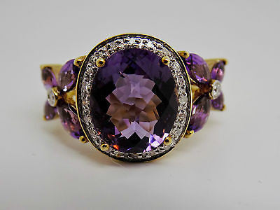 7.6 Cttw African Amethyst & Diamond Ring 10k Solid Gold Checkerboard Top NEW 315