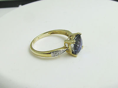 7mm Princess Cut  Mystic Topaz & Diamond Accent Ring 10k Solid Gold NEW