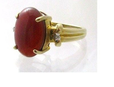 Carnelian & Diamond Ring 10k Solid gold - 14x10mm gemstone NWOT