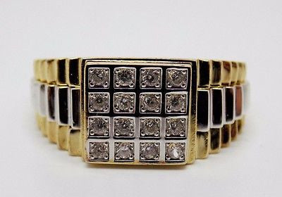 Mens CZ ring Sterling Silver w Solid Gold Plating Size 12 checkerboard pattern