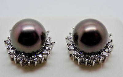 18K Solid Gold - Black Tahitian Pearl & .20 Ct. Diamond Earrings NWT Halo 048
