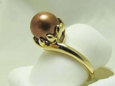 NEW 9mm CHOCOLATE CULTURED PEARL BYPASS BASKET RING 14K 350