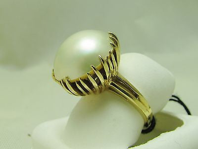 NEW 15mm MABE PEARL RING 14K SOLID GOLD ONE OF A KIND SETTING RET $1550