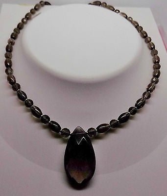 "18.5"" Smokey Quartz Bead Necklace with drop Pendant focal w/ 14k beads and clasp"