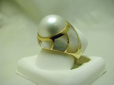 10mm Mabe Pearl Dome Ring with MOP Inlays 14k