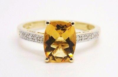2 Ct. Cushion Cut Natural Citrine & Diamond Accent Ring 14k NEW Size 7 314