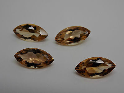 4pc Lot 14x7mm Smokey Quartz Loose Marquise Gems Checkerboard Top NEW 13 CTW 711