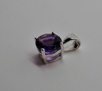 1.3 Ct. Amethyst Pendant set in 18k Solid gold WG February Birthstone - NEW 103