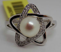 Cultured Pearl & Diamond ring 10k White Gold with Star Shaped Setting NWT 305