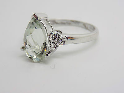2.7 Ct.Green Amethyst Diamond Ring in 10k Solid Gold NWOT Fancy Checkerboard Top