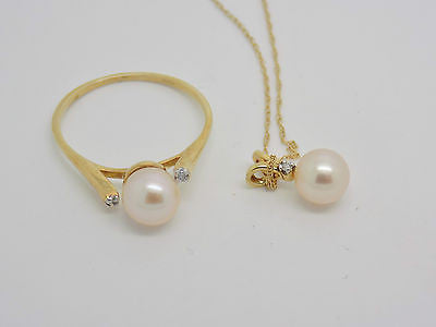 2 Piece Pearl & Diamond Jewelry set Skinny Ring & Necklace Peach 14k