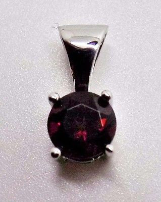 18K GARNET PENDANT SOLID GOLD .62 CT JANUARY BIRTHSTONE 5.5mm NEW 102