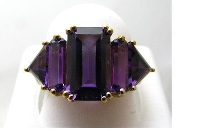 8 Cttw Baguette Cut Natural African Amethyst Double Prong Ring 10k - NEW