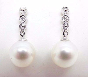 18K CULTURED PEARL & Diamond Earrings Solid Gold Brand NEW 030