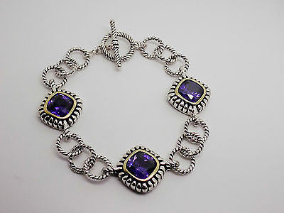 "Purple CZ Toggle Clasp Bracelet in Sterling Silver & Vermeil 7 1/4"" NEW"