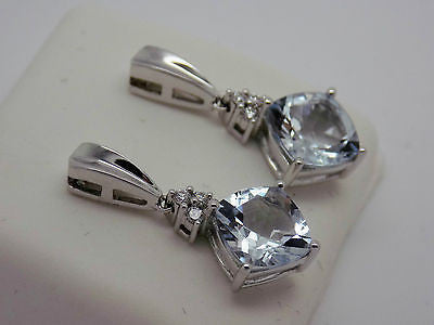 4.8 Ct. Cushion Cut Aquamarine & Diamond Earrings 14k Solid Gold 025