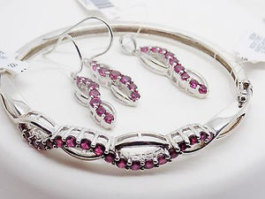 Created Ruby Jewelry Set Bangle Bracelet Pendant Earrings Sterling Silver NWT621