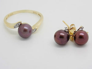 2 Piece Pearl Diamond Jewelry set Ring Earrings Brown Freshwater Pearl 14k NEWGR