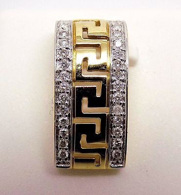 10k Solid gold Slide Pendant with Greek Key pattern .13 cttw diamonds - NWOT 143