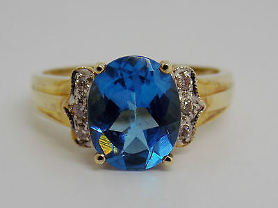 3.5 Ct. Blue Topaz & Natural Diamond Ring 14k Solid Gold NEW 378