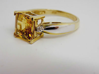2.3 Ct. Natural Citrine & Diamond Accent Ring 10k Solid Gold Two Tone NEW 31H