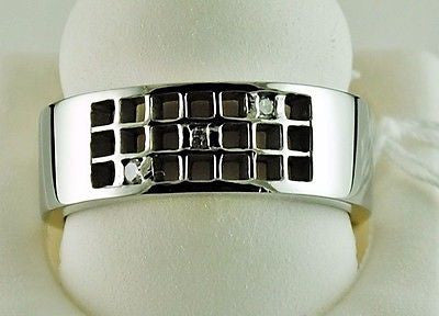 MENS Sterling Silver Ring with natural Diamond accents Size 9.5 - NWOT 343