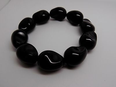 Chunky Natural Black Onyx 20x15mm Beaded Stretch Bracelet Size S-M