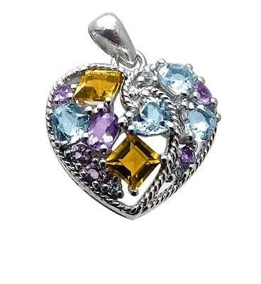 Amethyst Citrine Blue Topaz Heart Pendant Sterling Silver - Multi-color