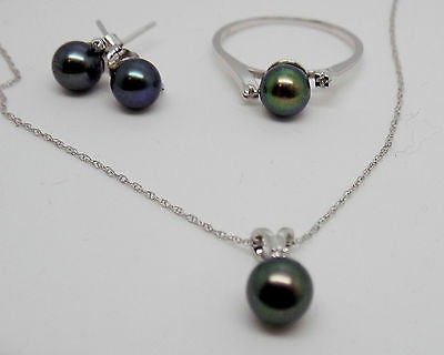 3 Piece Pearl Jewelry set Ring Earrings Necklace Black Freshwater Pearl 14k