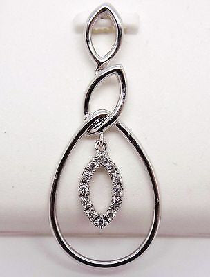18K Diamond Pendant in Teardrop Shape .07 CT SOLID GOLD NEW