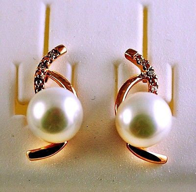 PEARL & DIAMOND Rose Gold Earrings 10k Solid- NEW WITHOUT TAGS 061