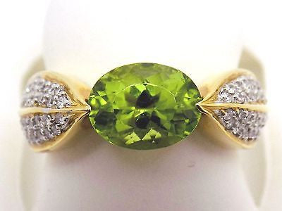 1.7 Ct. Peridot & .33 Ct. Diamond Ring - Pave Set - 18k Solid Gold - NEW w/tag