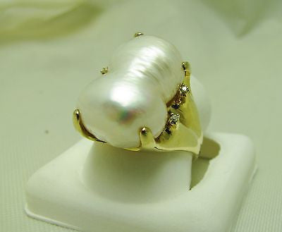 Double Biwa Pearl & Diamond Ring Freeform claw setting - one of a kind! NEW 8.5g