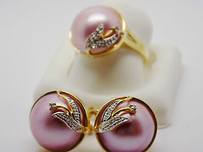 Pink Mabe Pearl & Natural Diamond Ring 14k Solid Gold NEW - G28