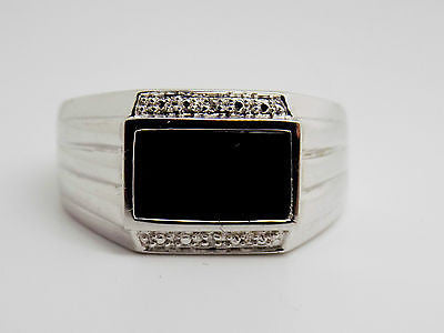 MENS Natural Onyx & Diamond accent Sterling Silver - NWT 8.9gr new 39G