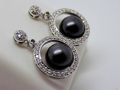 14K Solid Gold - Black Tahitian Floating Pearl & .36 Ct Diamond Earrings 020
