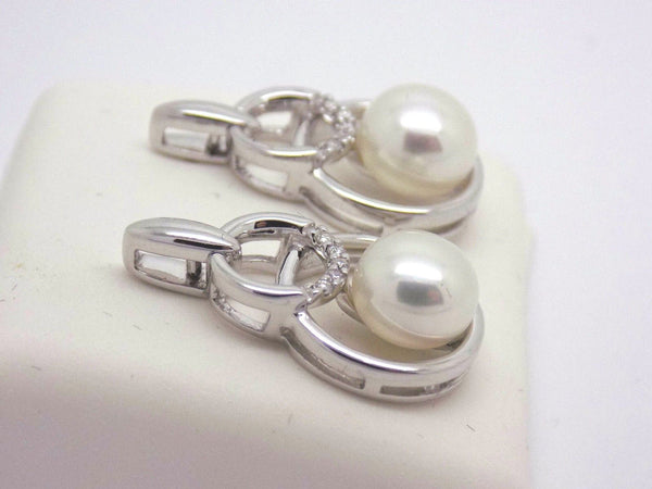 7 - 7.5mm Button Pearl & .05 Ct. Diamond Earrings 14k White Gold 019