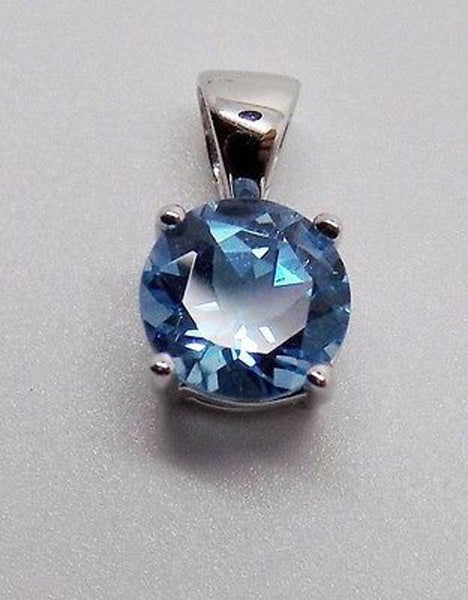 18K BLUE TOPAZ PENDANT SOLID WG 1.05 CT DECEMBER BIRTHSTONE NEW