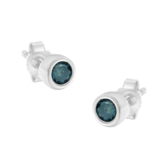 Sterling Silver .20 Cttw Treated Blue Diamond Bezel-Set Stud Earrings in Round Cut