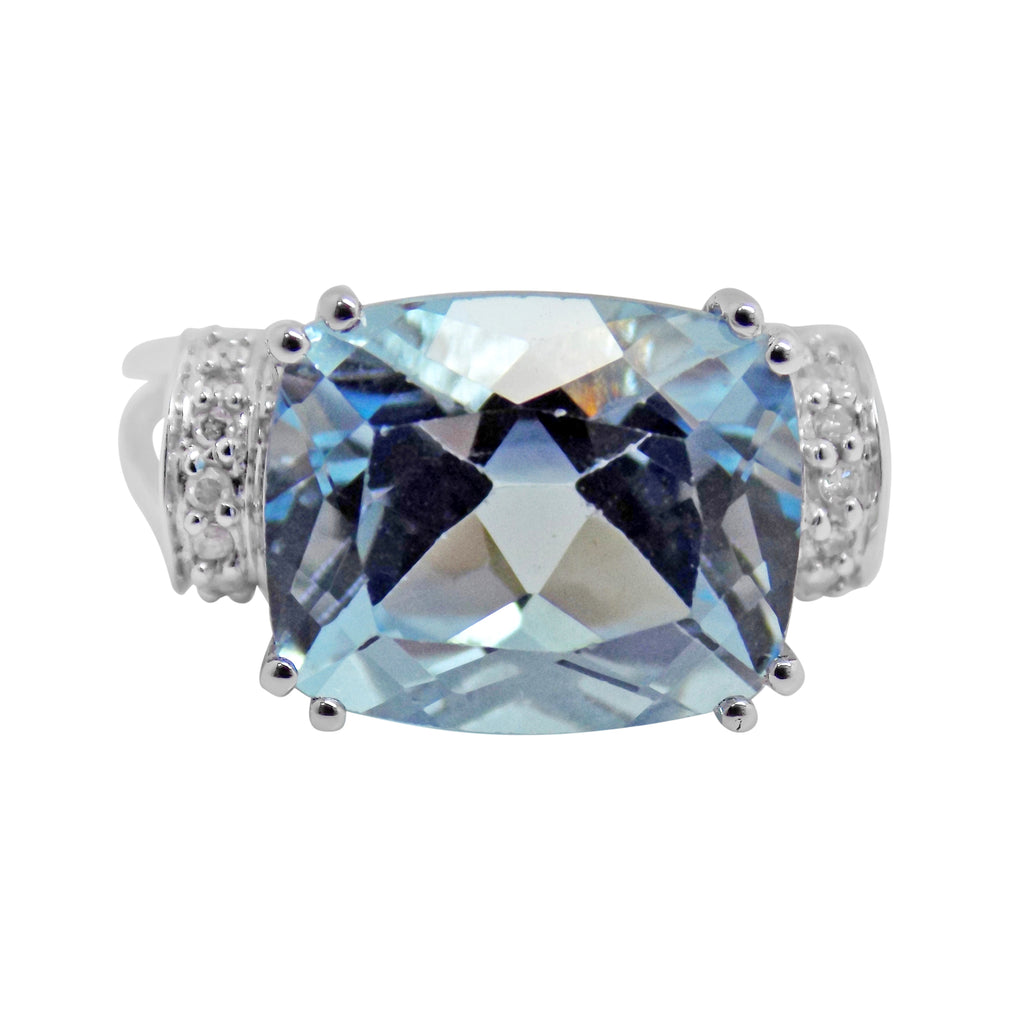 6.8 ct. Sky Blue Topaz & Diamond Ring 10k Cushion Cut, double prong setting 330