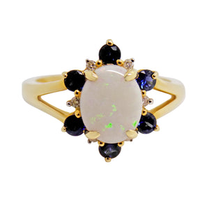 Natural Opal, Sapphire & Diamond Ring 14k - NEW