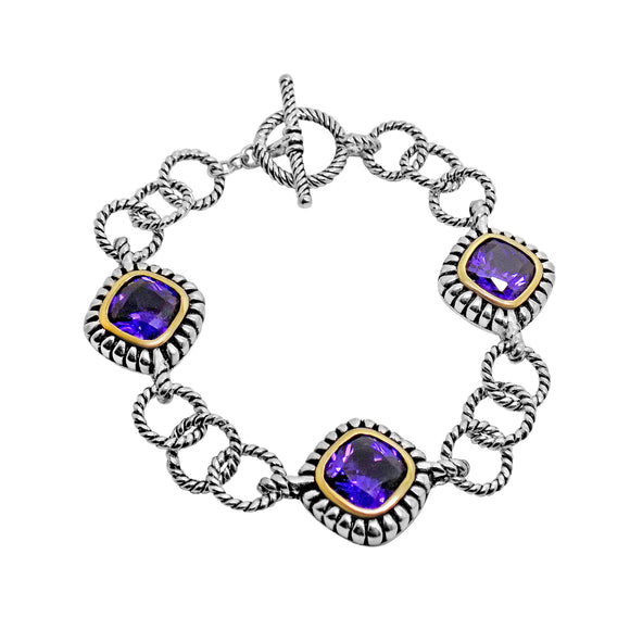 Purple CZ Toggle Clasp Bracelet in Sterling Silver & Vermeil 7 1/4