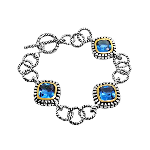 Blue CZ  toggle clasp Bracelet in Sterling Silver & Vermeil 7 1/4