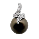 10.5mm .Black Tahitian Pearl & .09 ct. Diamond Pendant 14k WG wrap design 119
