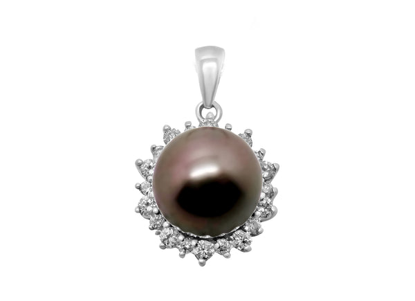 14K 8-9mm TAHITIAN PEARL & .22 CT  DIAMOND PENDANT NEW